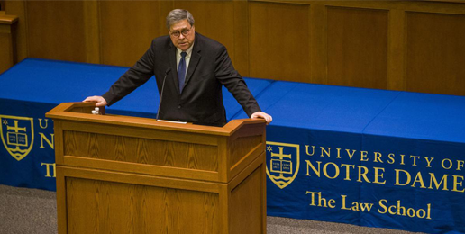 <center>U.S. Attorney General William P. Barr<BR> Offers Honest Assessment of the Culture to Notre Dame Students</center>